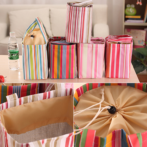 Insulated Cooler Lunch Box Bag Canvas Storage Handbag Travel Picnic Food Bag Tote