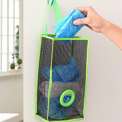 Kitchen Translucent Mesh Hanging Garbage Shopping Bag Storage Organiser Bag