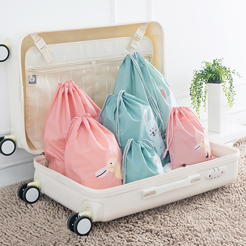 Cute Cartoon Animals Drawstring Travel Laundry Shoes Toy Organizer Storage Bag