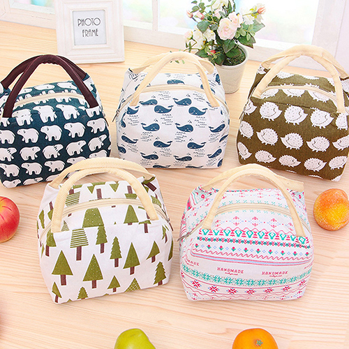 Cute Cartoon Thermal Insulated Canvas Food Fruit Storage Case Pouch Lunch Box Bag