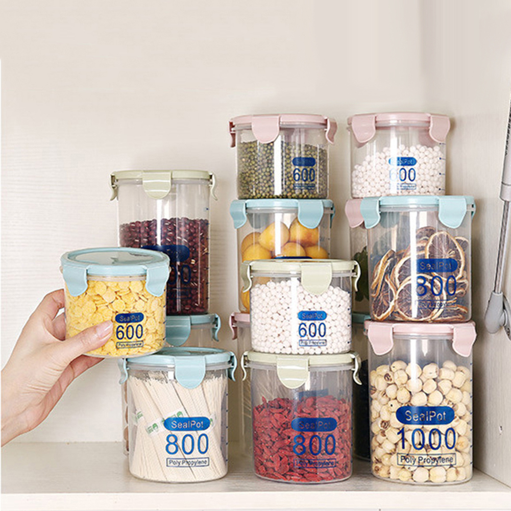 Clear Plastic Canister Snack Tea Coffee Kitchen Storage Jar Bottle with Clip Top