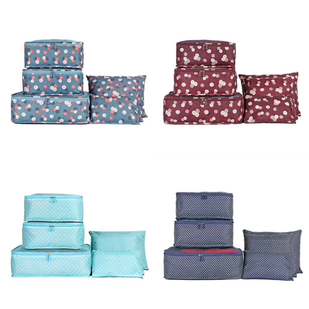 6Pcs Waterproof Clothes Packing Luggage Travel Storage Case Bag Organizer Pouch