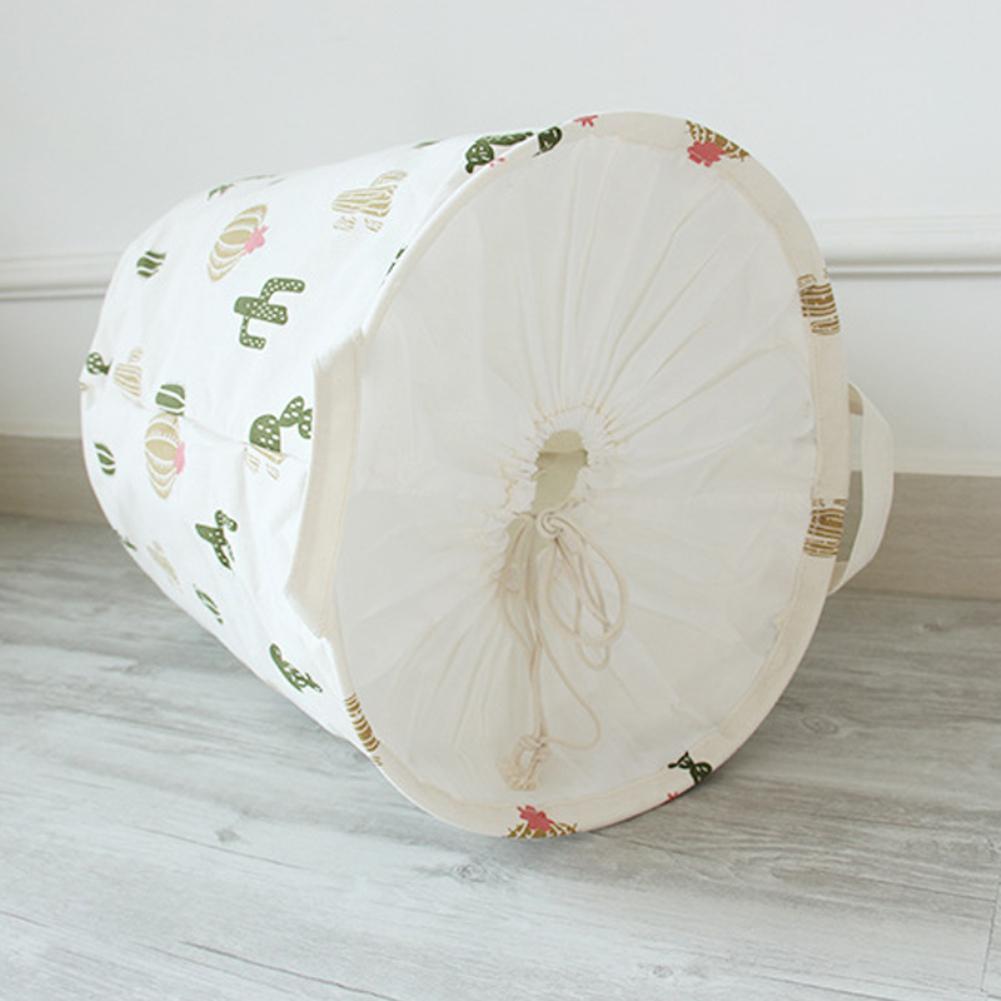 Foldable Drawstring Laundry Bag Home Washing Bin Hamper Cloth Storage Basket