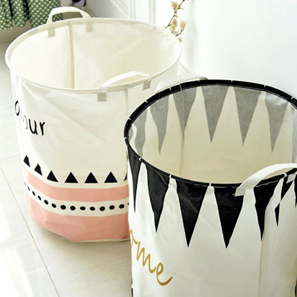 Nordic Style Cotton Linen Clothes Storage Laundry Basket Fold Bin with Handles