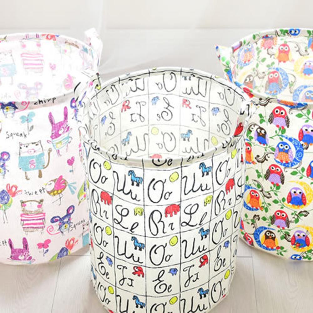 Folding Cotton Linen Laundry Basket Bathroom Bedroom Home Toy Storage Organizer