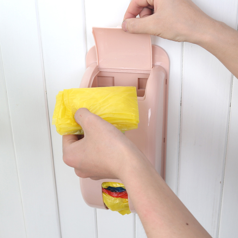 Candy Color Plastic Self-Adhesive Wall-mounted Garbage Bag Storage Box Container