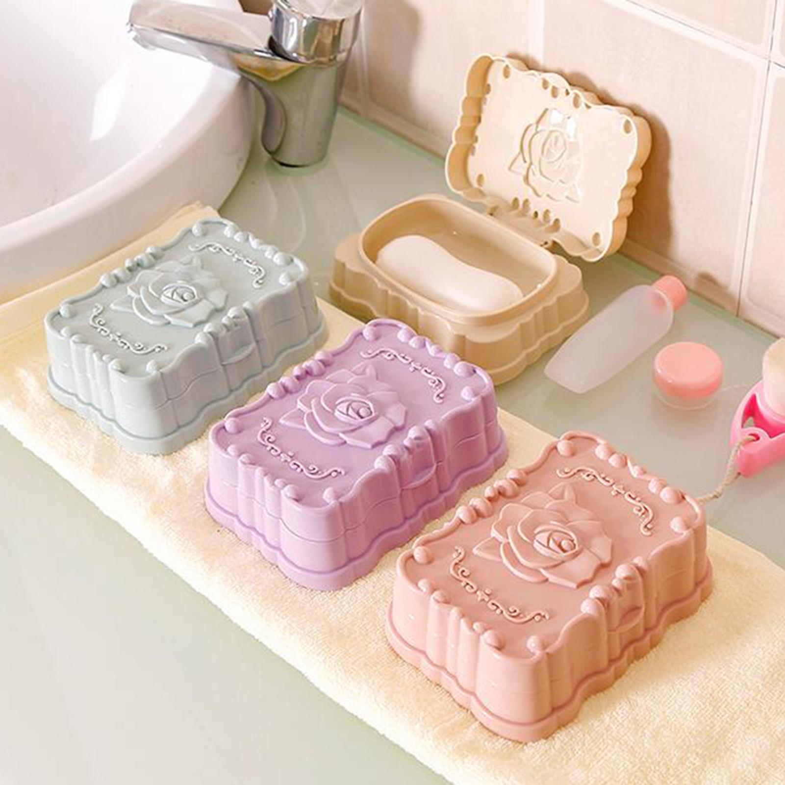Modern Plastic Rose Bathroom Soap Storage Dish Drain Rack Holder Container Case
