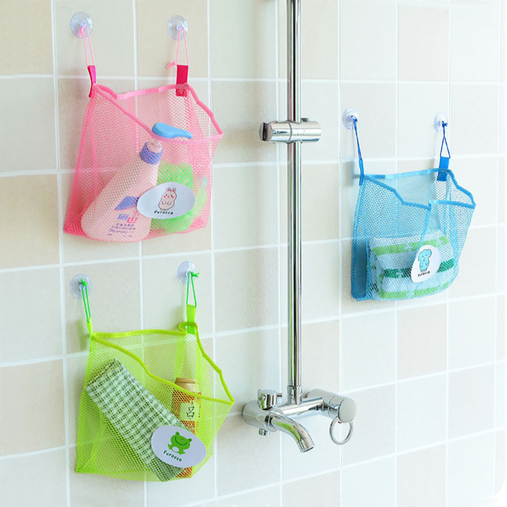 Bathroom Organizer Net Baby Bath Time Tidy Storage Toy Suction Cup Mesh Bag