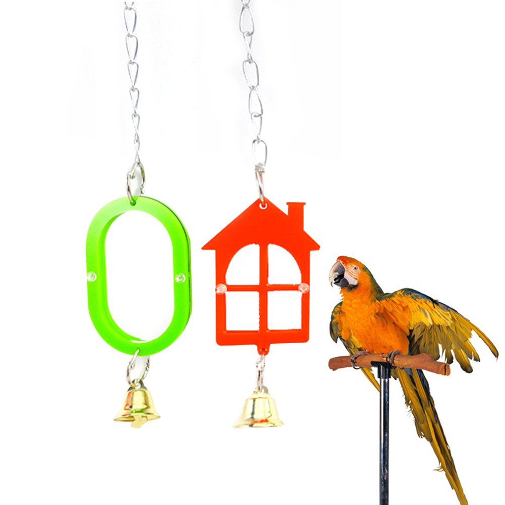 Funny Plastic Bird Toy Mirror Stand Platform Tool for Parrots Cockatiel Chain Bell