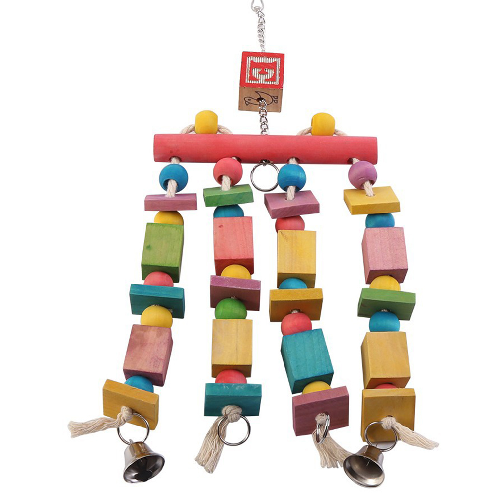 Colorful Cage Hanging Knots Blocks Parrot Bird Chewing Standing Toy with Bells