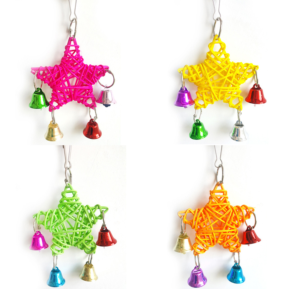 Cute Star Bell Design Parrot Toy Pet Bird Play Swing Bite Hanging Accessory