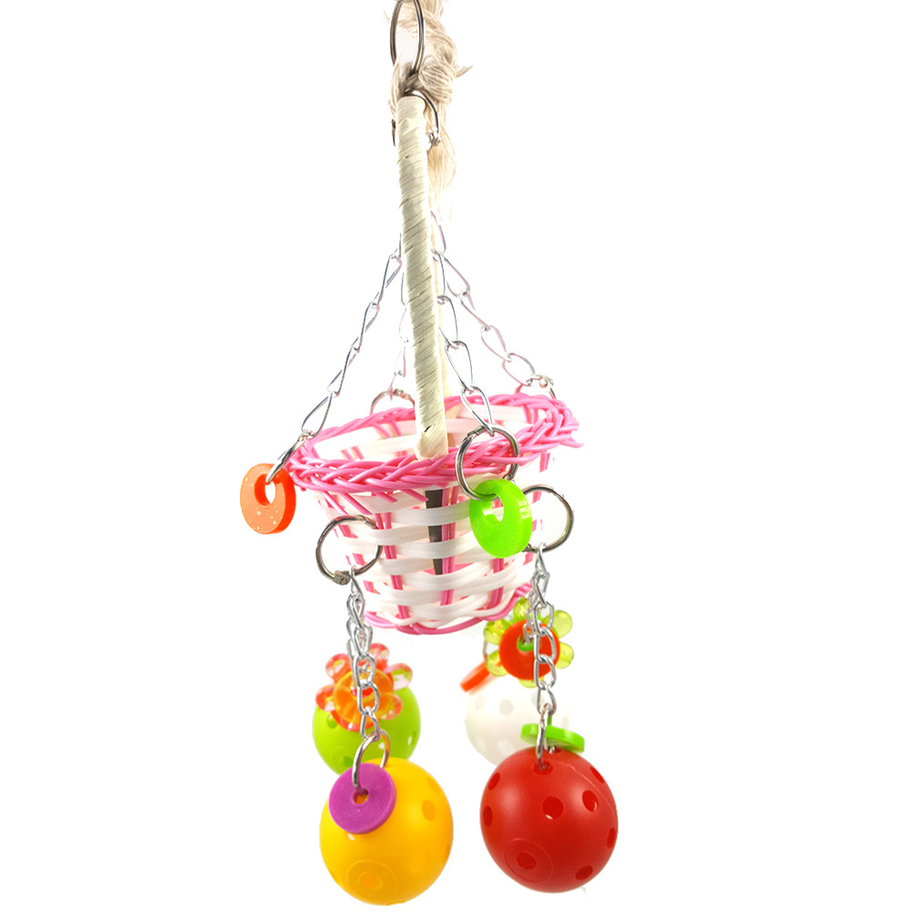 Hanging Swing Ball Basket Parrot Birds Chew Bites Toys Cage Decor Pet Supplies