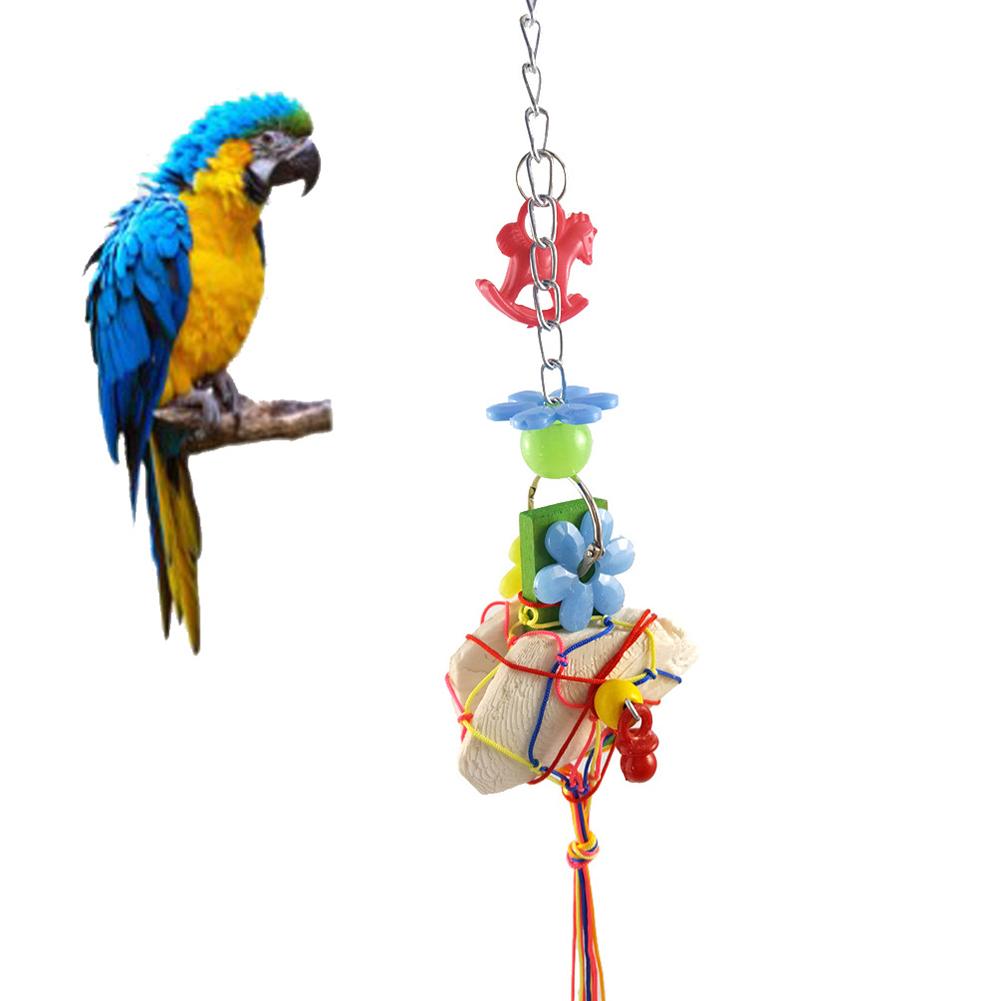 Creative Cuttlebone Acrylic Climbing Chewing Parrots Bird Toy Cage Hanging Decor