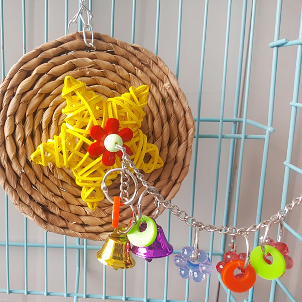 Parrot Bird Chewing Swing Bites Natural Corn Husks Bell Hanging Cage Pet Toy