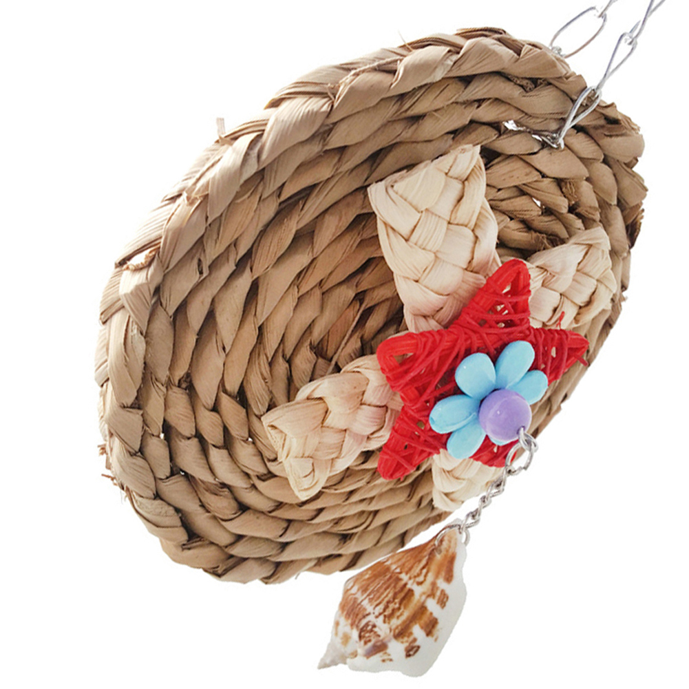 Corn Weaving Shell Dangle Pet Parrot Bird Cage Hanging Decor Round Chew Toy