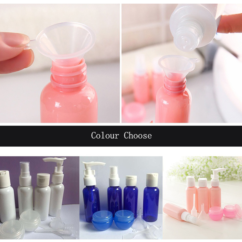 9Pcs Travel Supply Spray Bottle Set Funnel Spoon Dropper Makeup Empty Container