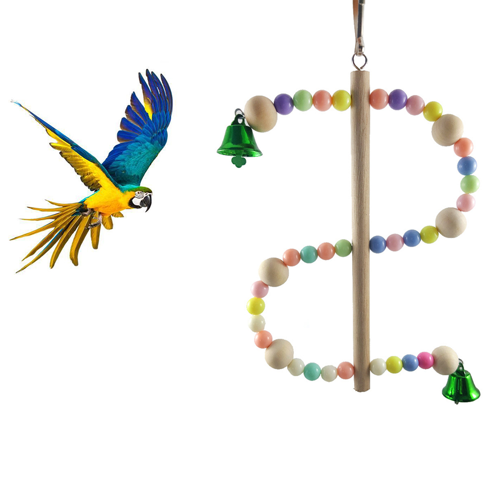 Colorful Beads S Shape Standing Parrot Pet Bird Stand Rack Biting Hanging Toy
