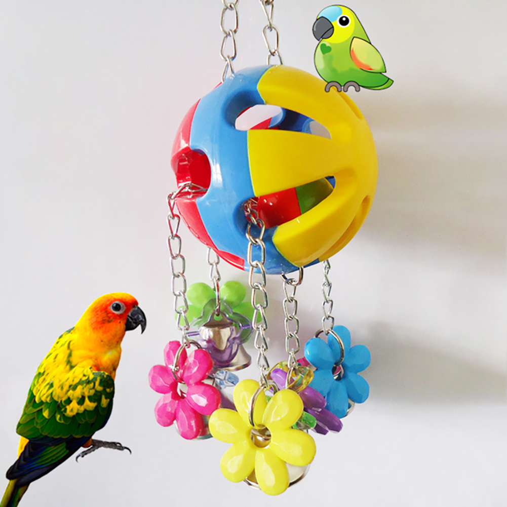 Parrot Bird Pet Swing Bell Hanging Chew Colorful Ball Flower Cage Decoration