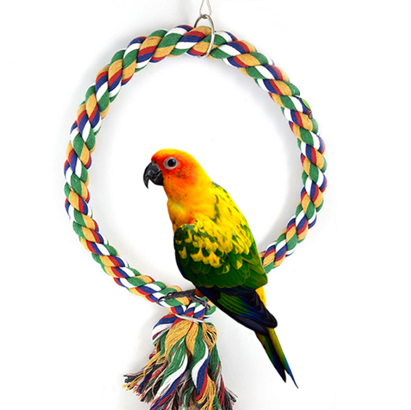 Parrots Bird Colorful Thick Knitted Rope Circle Climbing Pet Toy Cage Decor