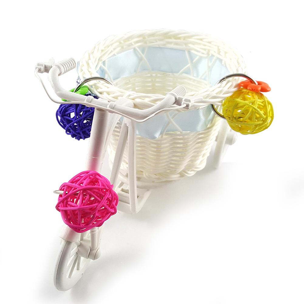 Mini Bike Trolley Shopping Cart Bird Parrot Toy Pet Intelligence Growth Rattan Ball