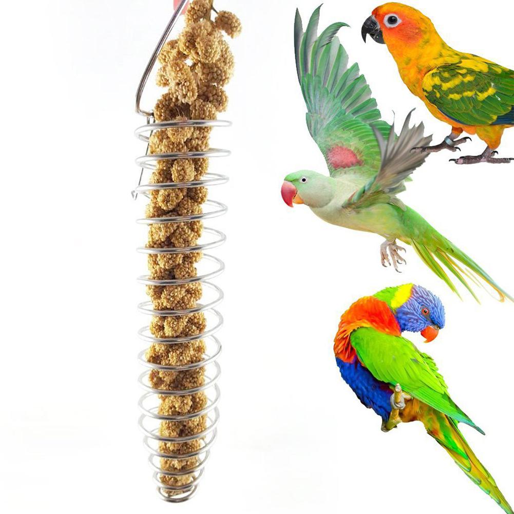 Portable Stainless Steel Spiral Feeder Birds Parrot Pet Food Fruit Holder Toy