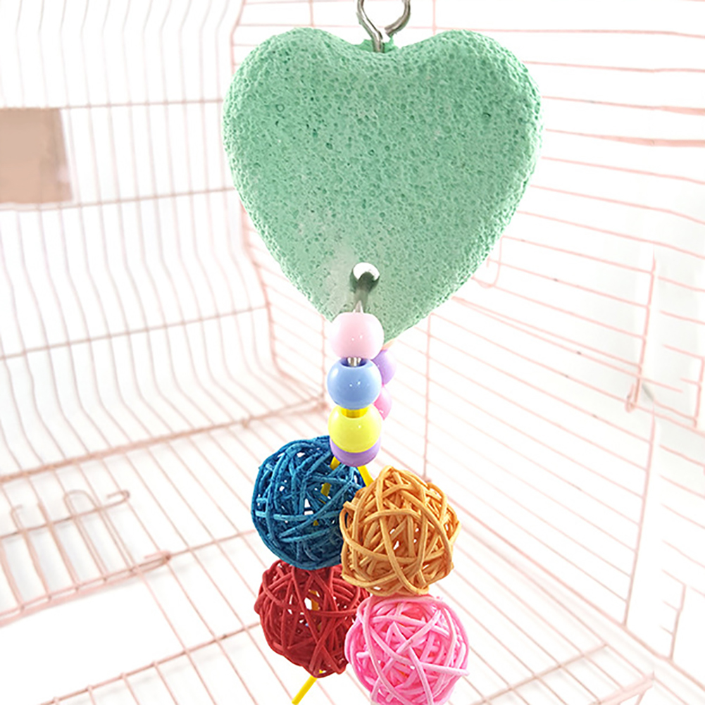 Colorful Pet Bird Teeth Care Chew Parrot Heart Stone Hanging Swing Balls Toy