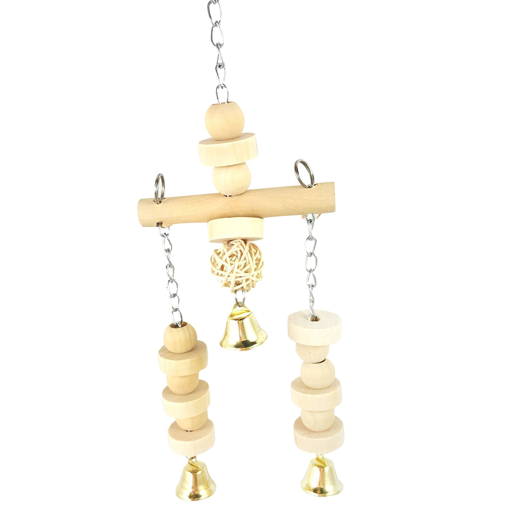 Birds Parrot Cage Wooden Bead Cylinder Swing Hanging Bell Chewing Safe Pet Toy