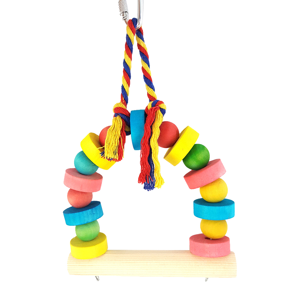 Bird Parrot Bright Color Swing Wood Pet Play Toy Climbing Cage Hanging Decor