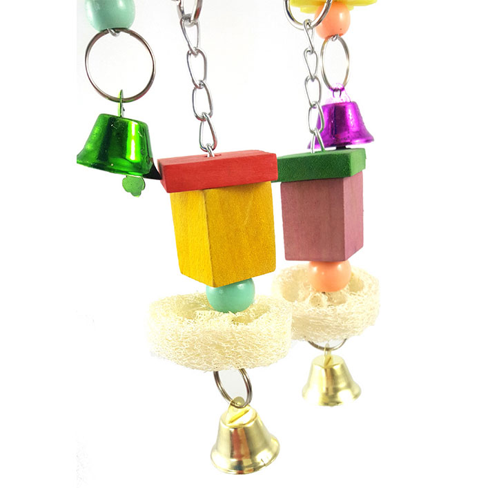 Rattan Star Wood Block Bell Pet Parrot Bird Chewing Play Toy Cage Hanging Decor
