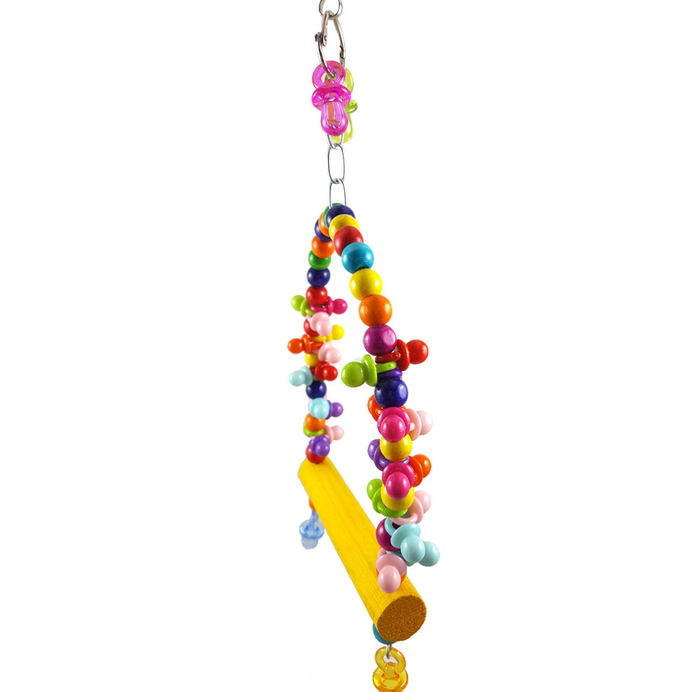 Bird Parrot Swing Cage Nipple Wooden Stick Colorful Hanging Toy Pet Accessory