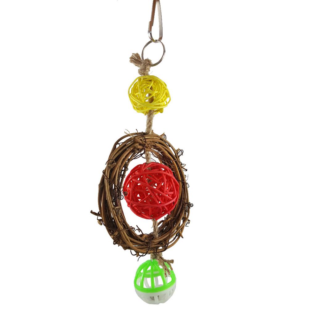 Pet Bird Bites Toy Parrot Chew Ball Hanging Cockatiel Rattan Circle Decoration