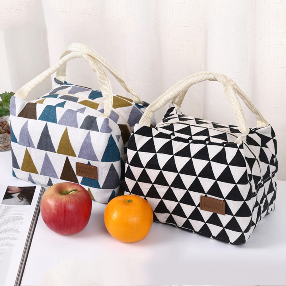 Fashion Triangle Thermal Insulation Office Picnic Food Bento Lunch Tote Bag