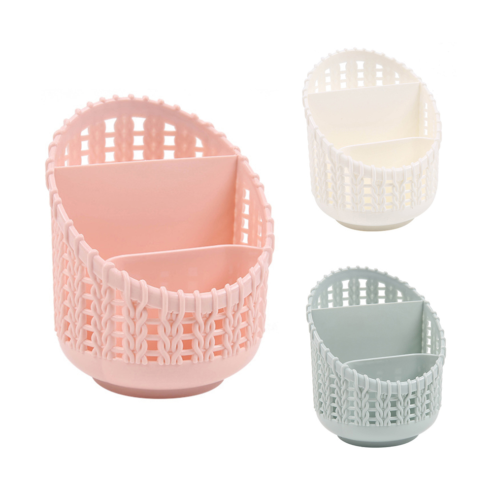 Hollow Out Rattan Style Pen Holder Desk Organizer Office Stationery Storage Box