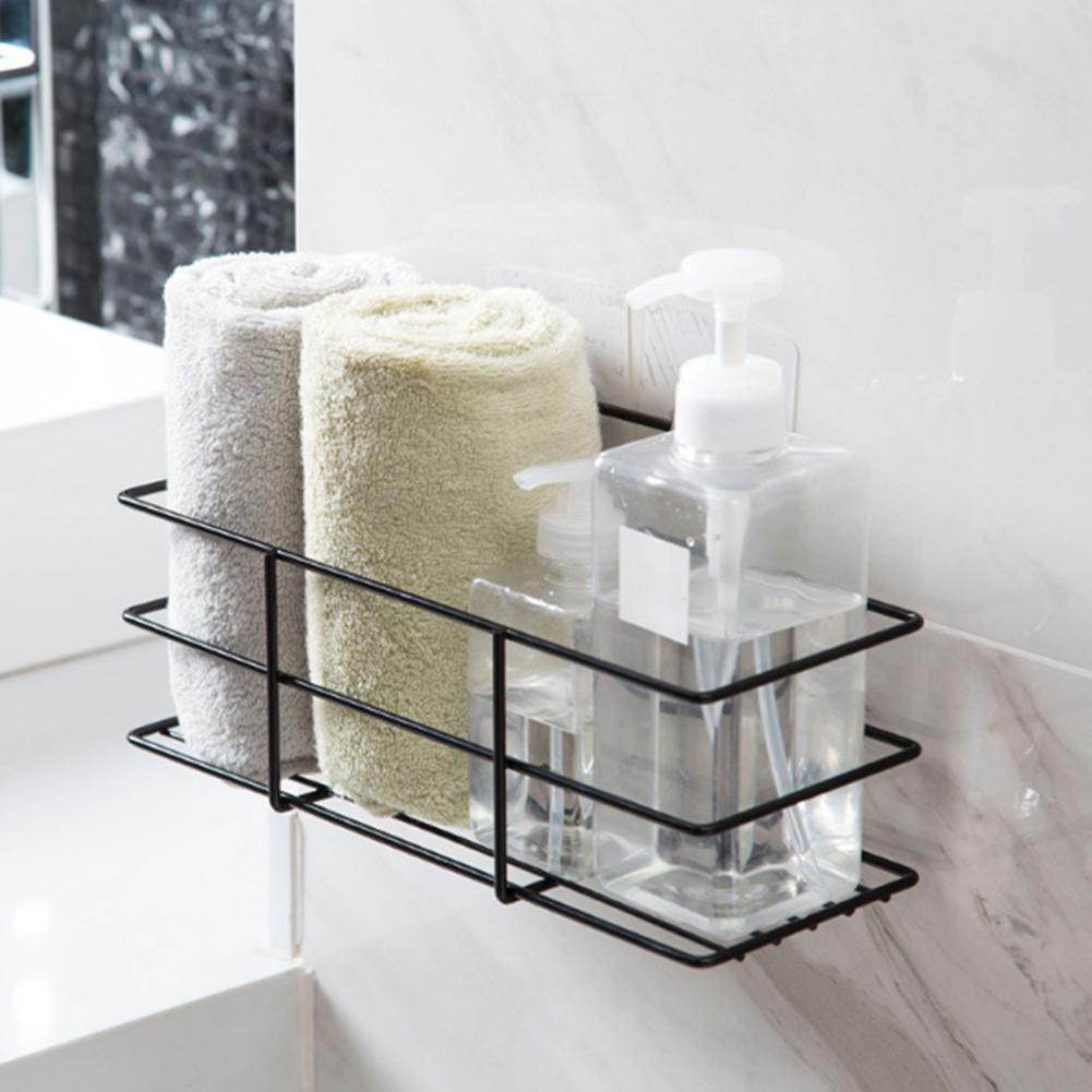 Kitchen Bathroom Storage Rack Shelf Non-Punching Lotion Cosmetic Draining Holder