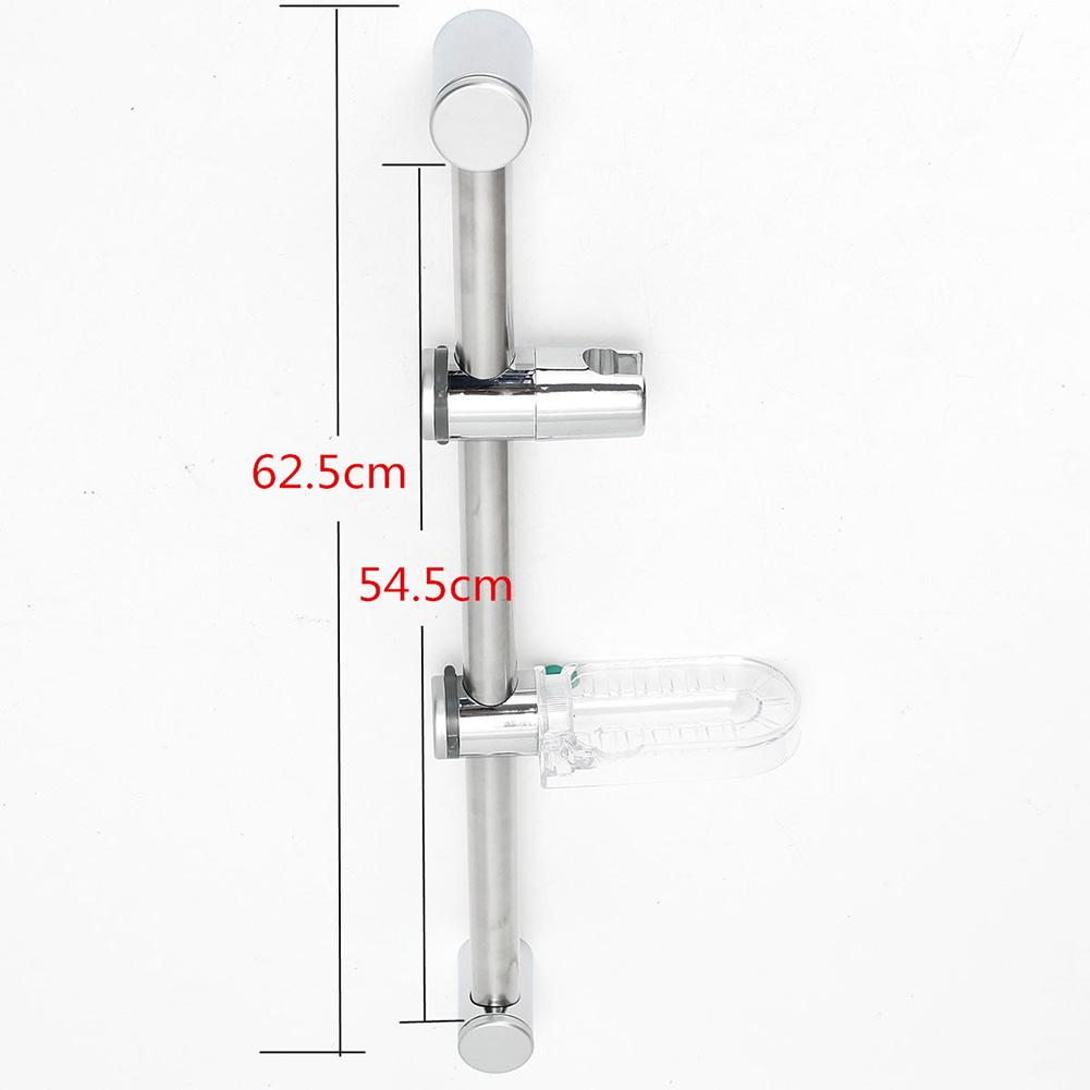 Chrome Shower Head Holder Kit Adjustable Riser Slide Rail Bar With Soap Dish