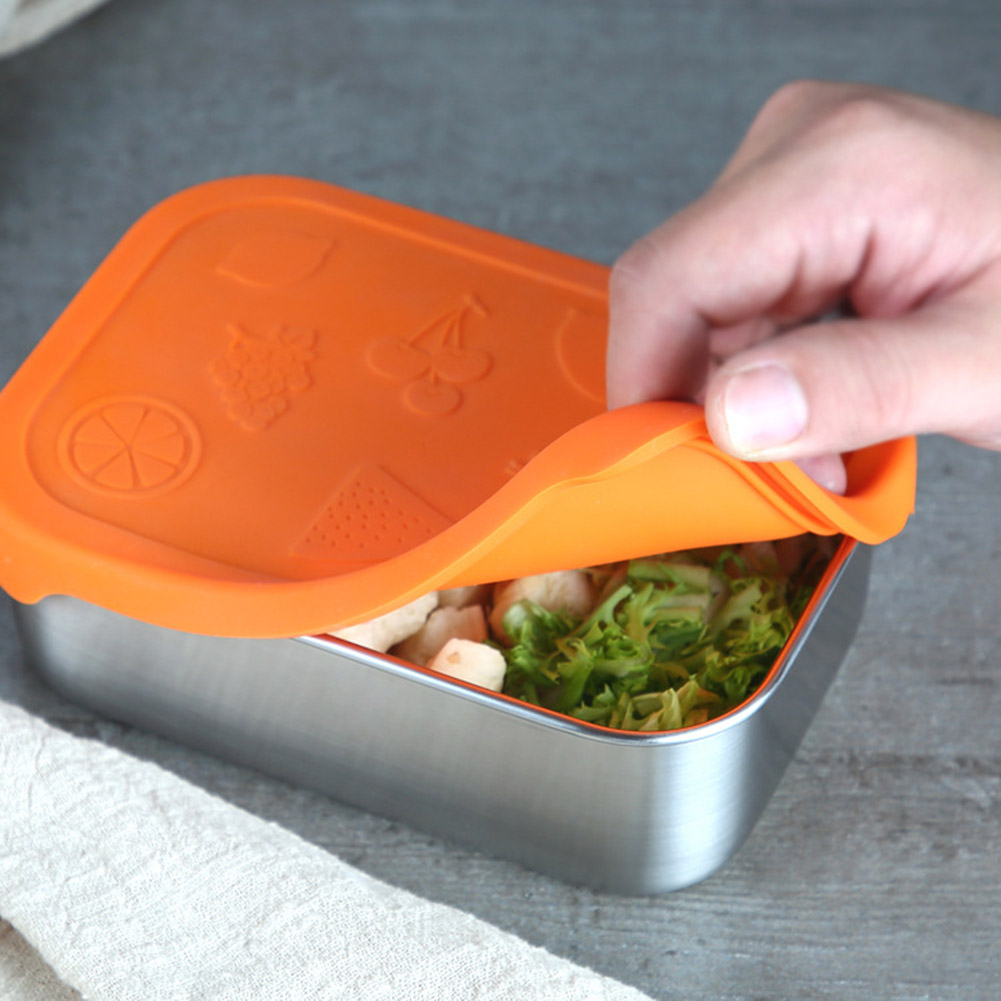 800ML Stainless Steel Fresh Bowl Lunch Snack Food Container with Silicone Lid