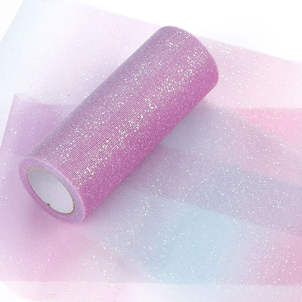 Rainbow Glitter Tulle Roll for Table Runner Chair Sash Bow DIY Sewing Craft