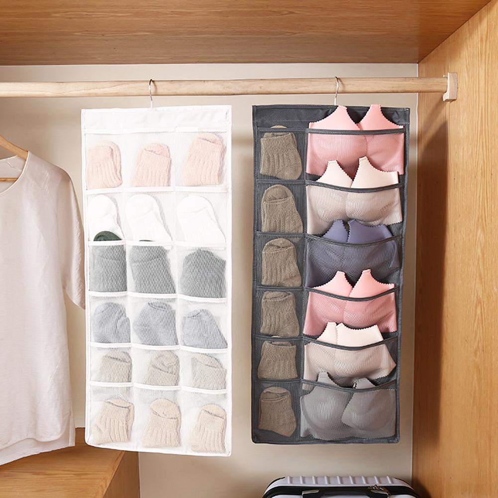Over Door Clear Hanging Bag Socks Bra Underwear Rack Storage Organizer Hanger
