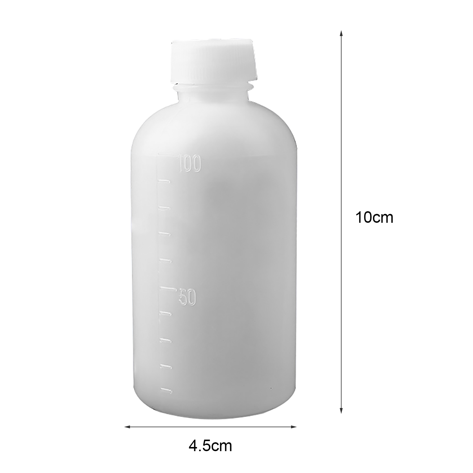 10Pcs 100ml Translucent Lab Home Plastic Bottles with Scale Medicament Samples