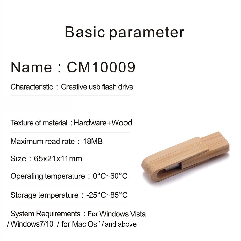 Portable Wood Rotating Lid USB Flash Drive Memory Stick U Disk for Computer