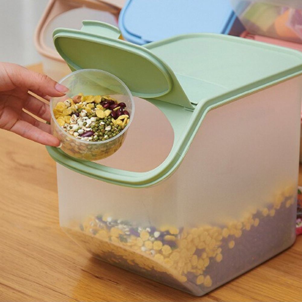 Kitchen Rice Storage Box Grain Cereal Dispenser Food Organizer Sealing Container