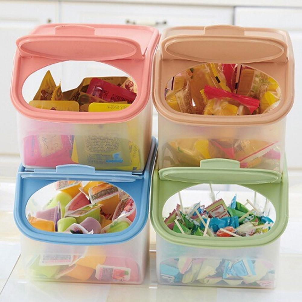 Clear Kitchen Rice Storage Box Grain Cereal Dispenser Food Organizer Container
