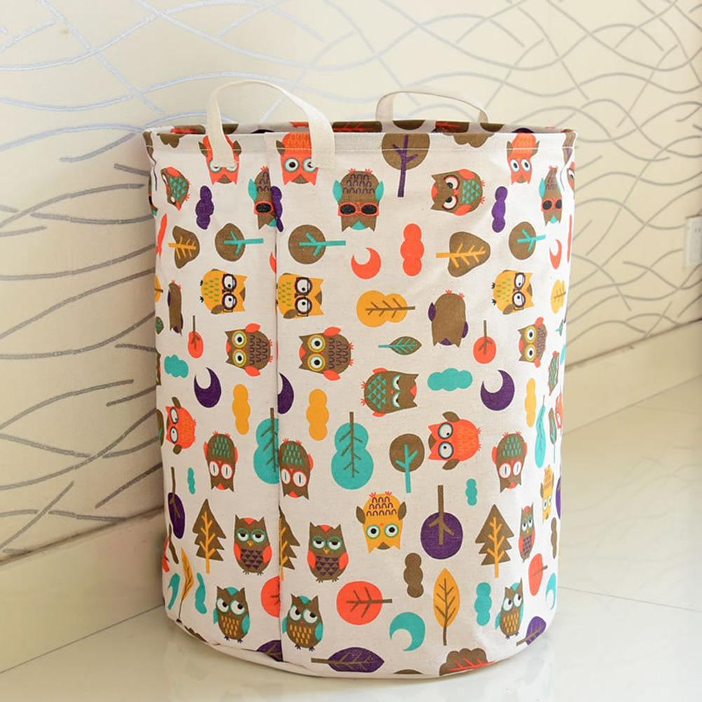 Cartoon Owl Cotton Large Capacity Toys Clothes Laundry Organizer Storage Basket