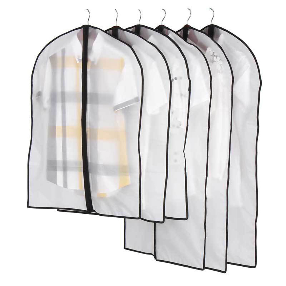 6Pcs Waterproof Clothes Protector Garment Suit Storage Dust Cover Hanging Bag