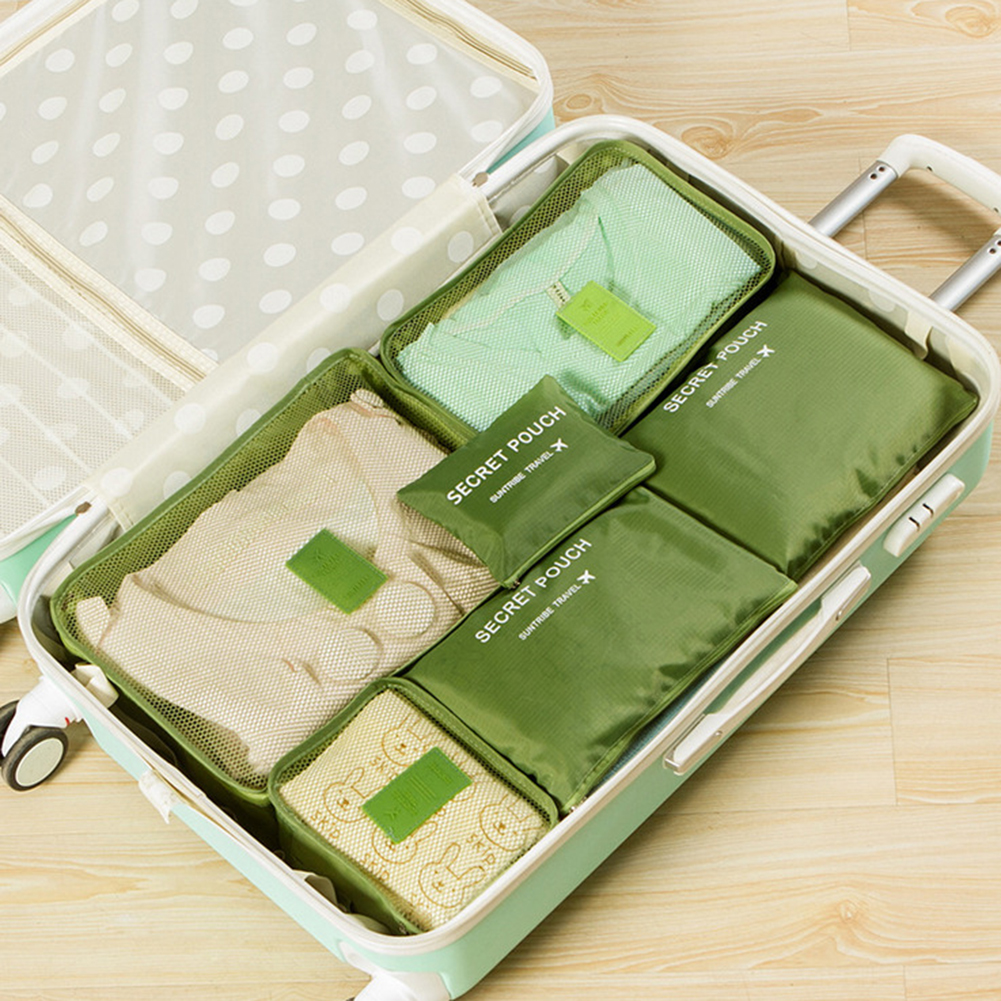 6Pcs Travel Storage Bags Clothes Organizer Waterproof Luggage Suitcase Pouch