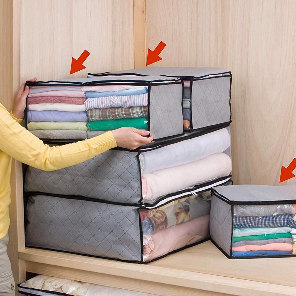 3Pcs Folding Transparent Moisture-Proof Household Quilt Organizer Storage Bag