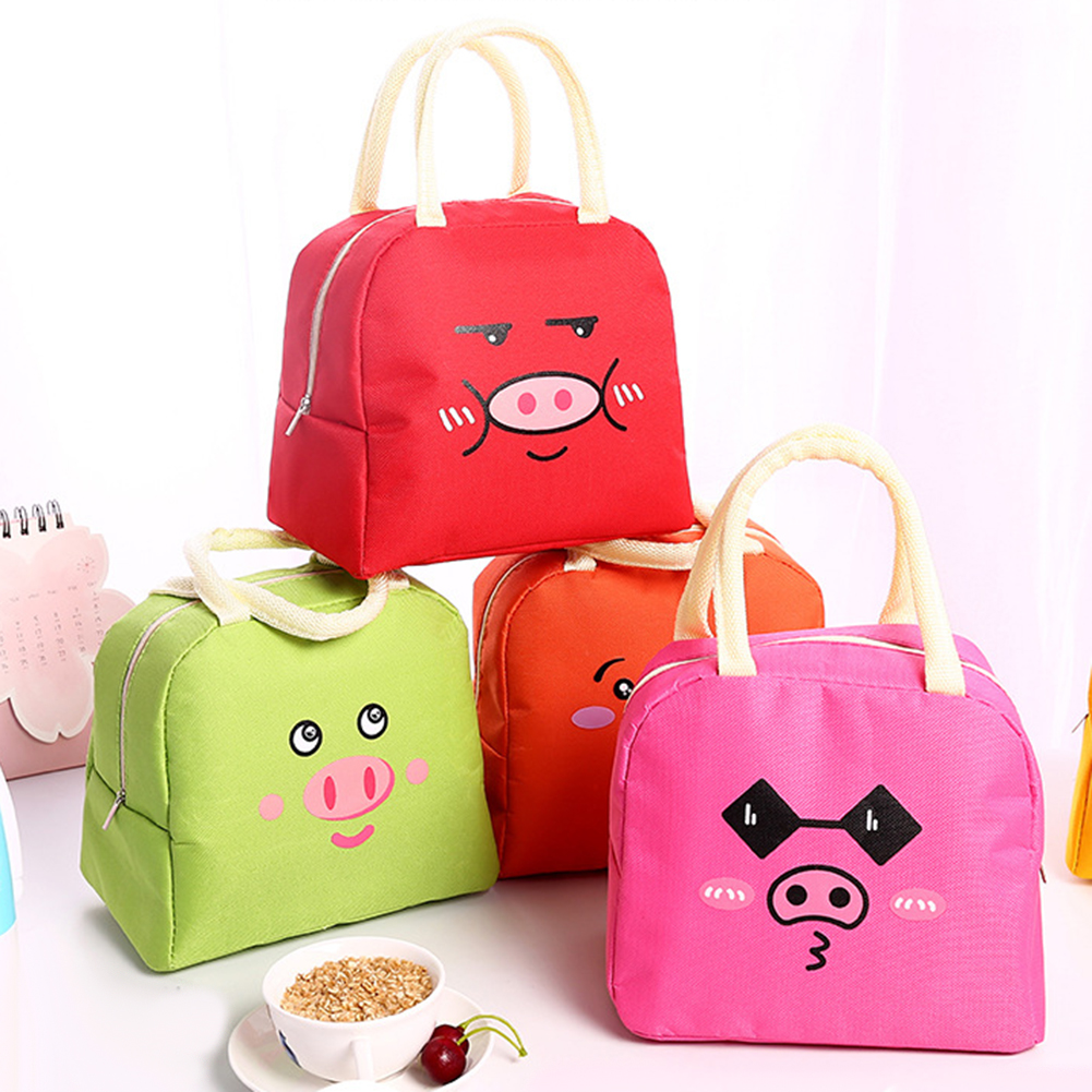 Cute Pig Print Thermal Insulation Office Picnic Food Bento Lunch Tote Bag Pouch