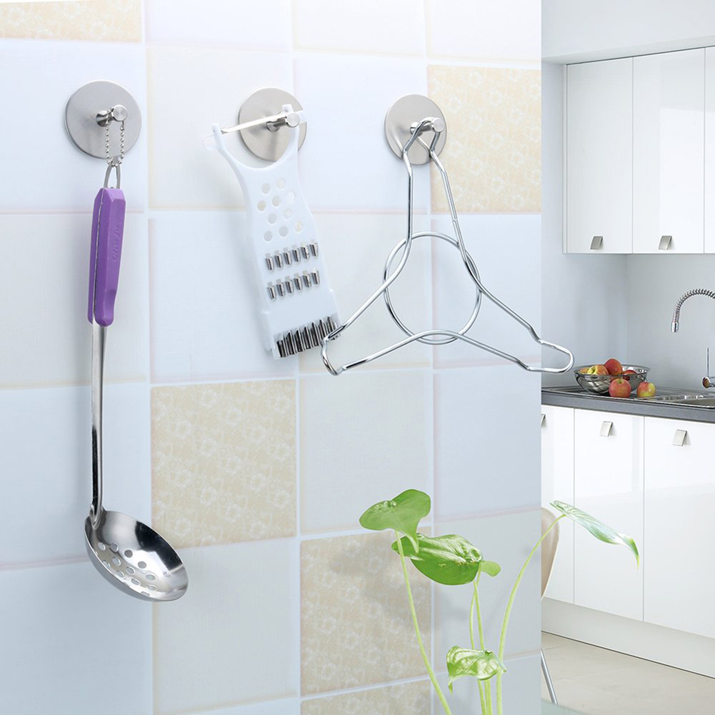 4Pcs 304 Stainless Steel Strong Adhesive Wall Hook Bathroom Towel Clothes Hanger