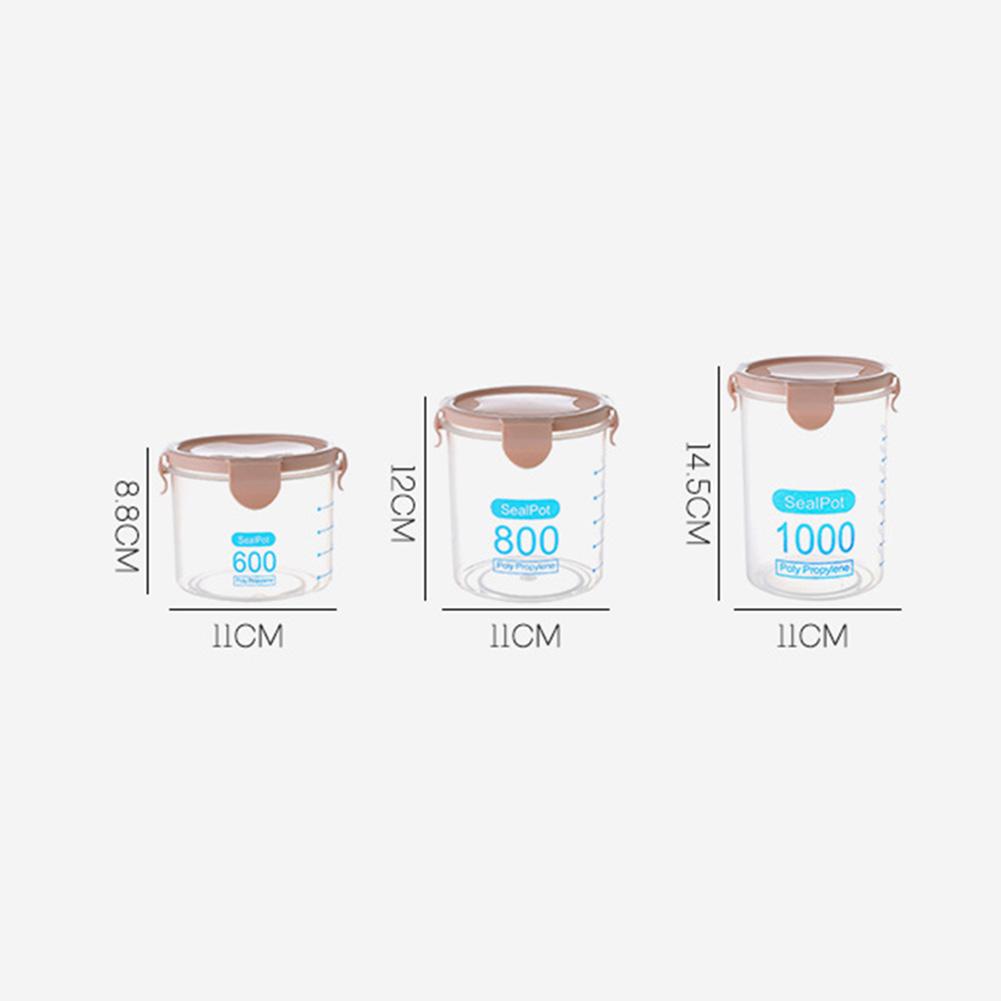 Kitchen Transparent Spices Bean Tea Grain Storage Box Jar Seal Pot Can with Lid