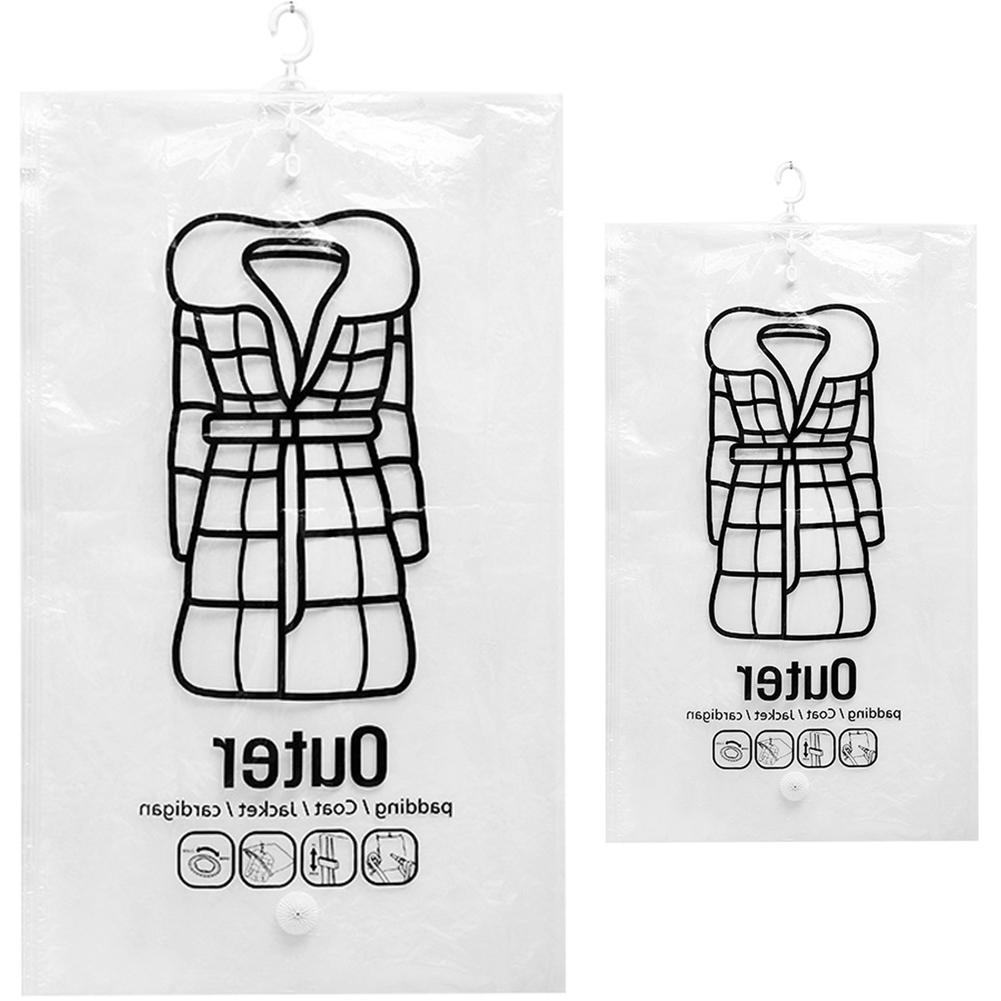 Transparent Hanging Vacuum Bag Folding Coat Clothes Sealed Storage Pouch Sack